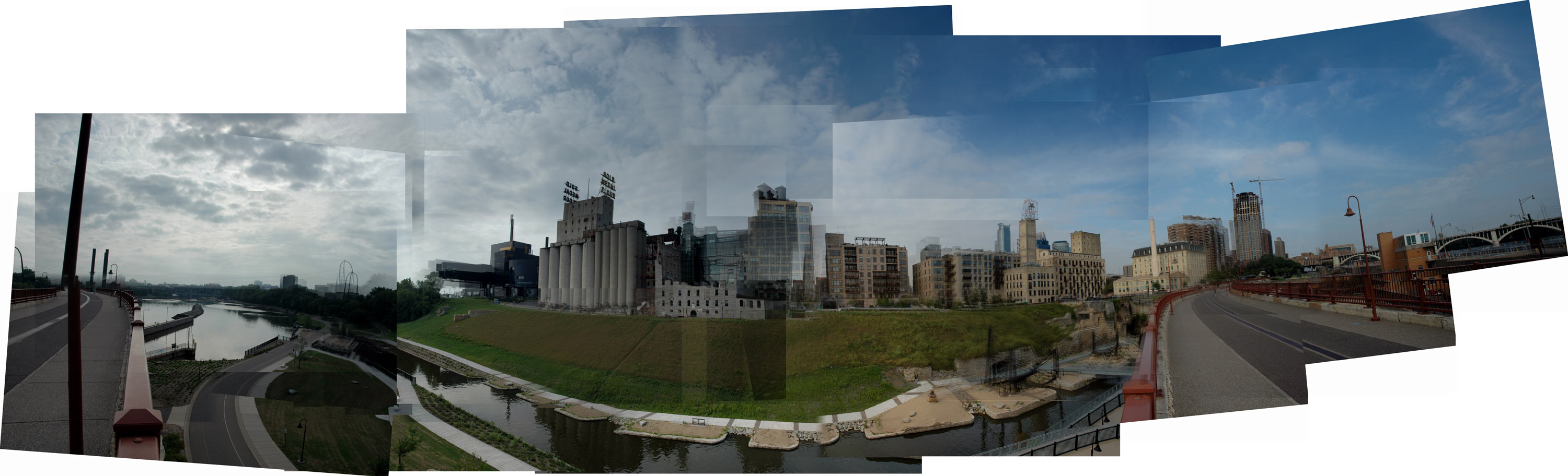 Panorama of Mill City Museum and surrounding area