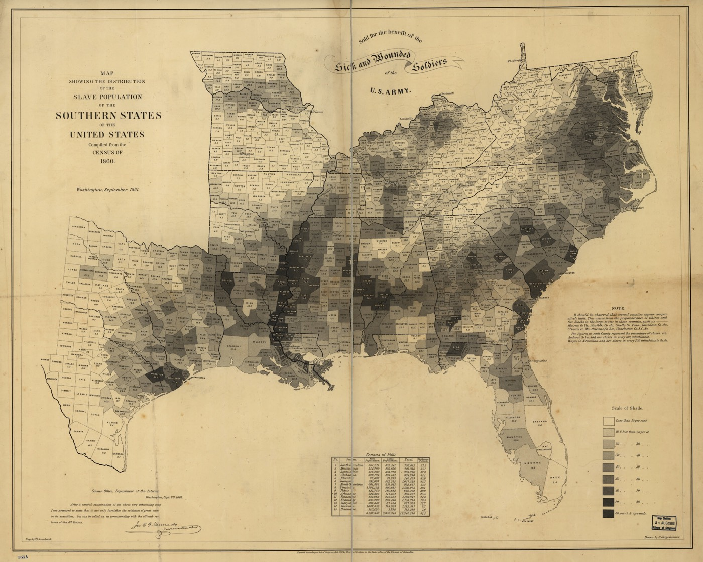 Map Of US Slavery - Us map 1861