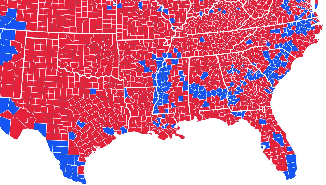 How The Cretaceous Coastline Of North America Affects US - Us presidential election red blue map