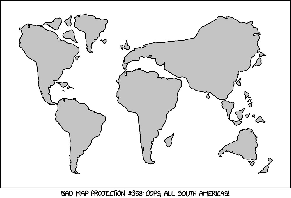 World Map Projection with all South Americas