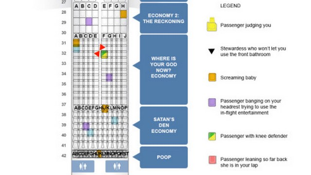 Airplane seating map from Hell