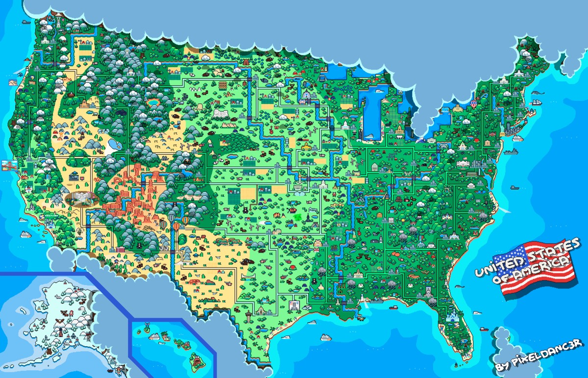 Animated Pixel Art Map of the USA on grid reference, early world maps, global map, map projection, history of cartography, satellite imagery, geographic information system, geographic coordinate system, cartography of the united states, geographic feature,