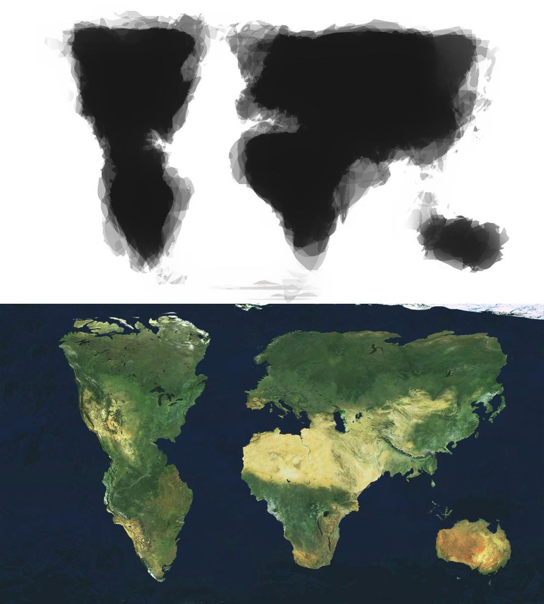 An average hand-drawn map of the world