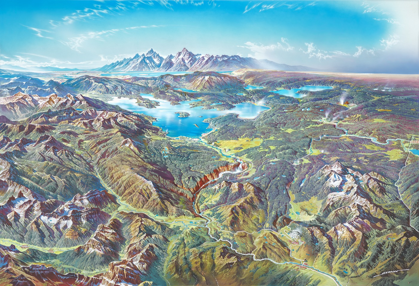 Lovely Panoramic Paintings of US National Parks
