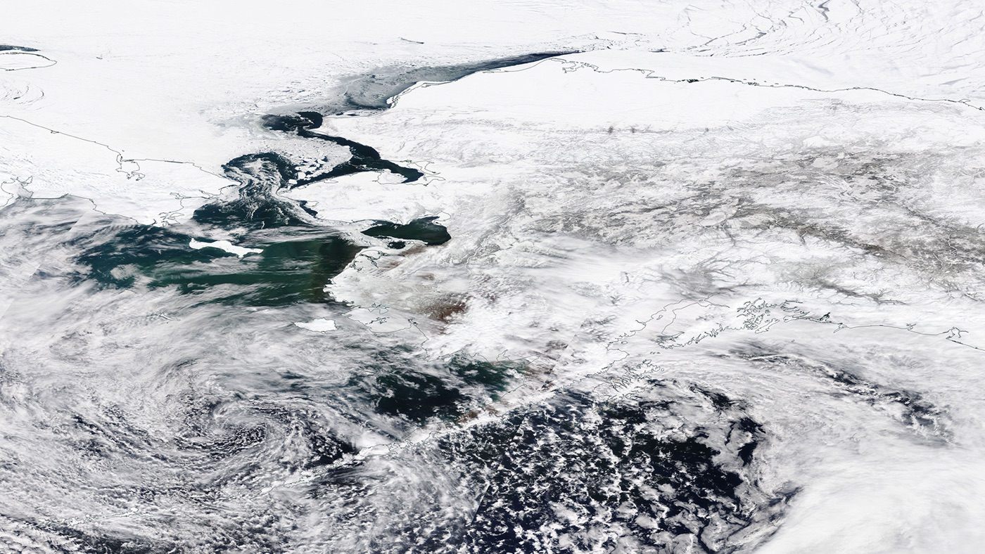 Bering Sea satellite view