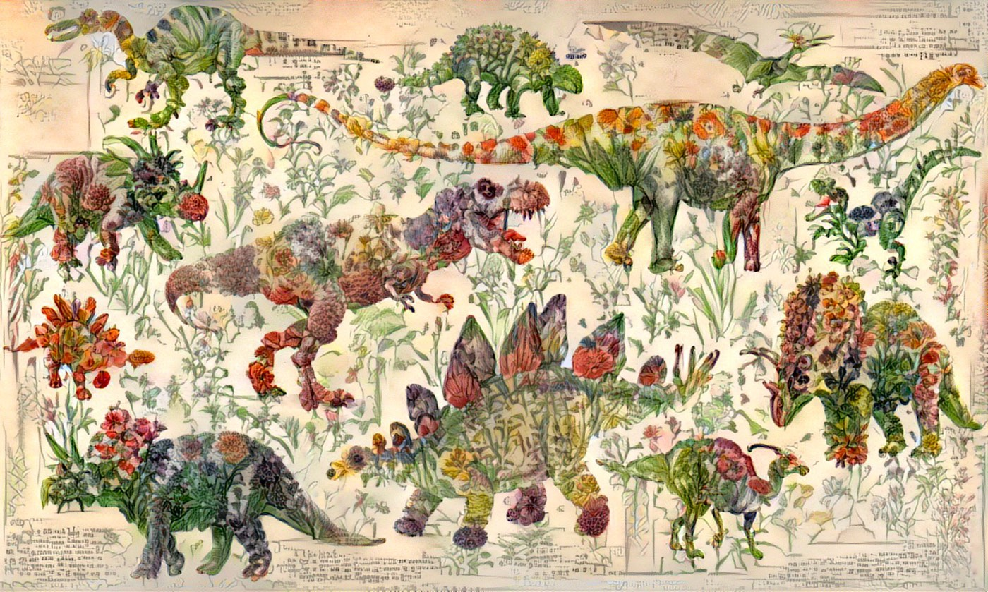 robots dreaming of flowery dinosaurs