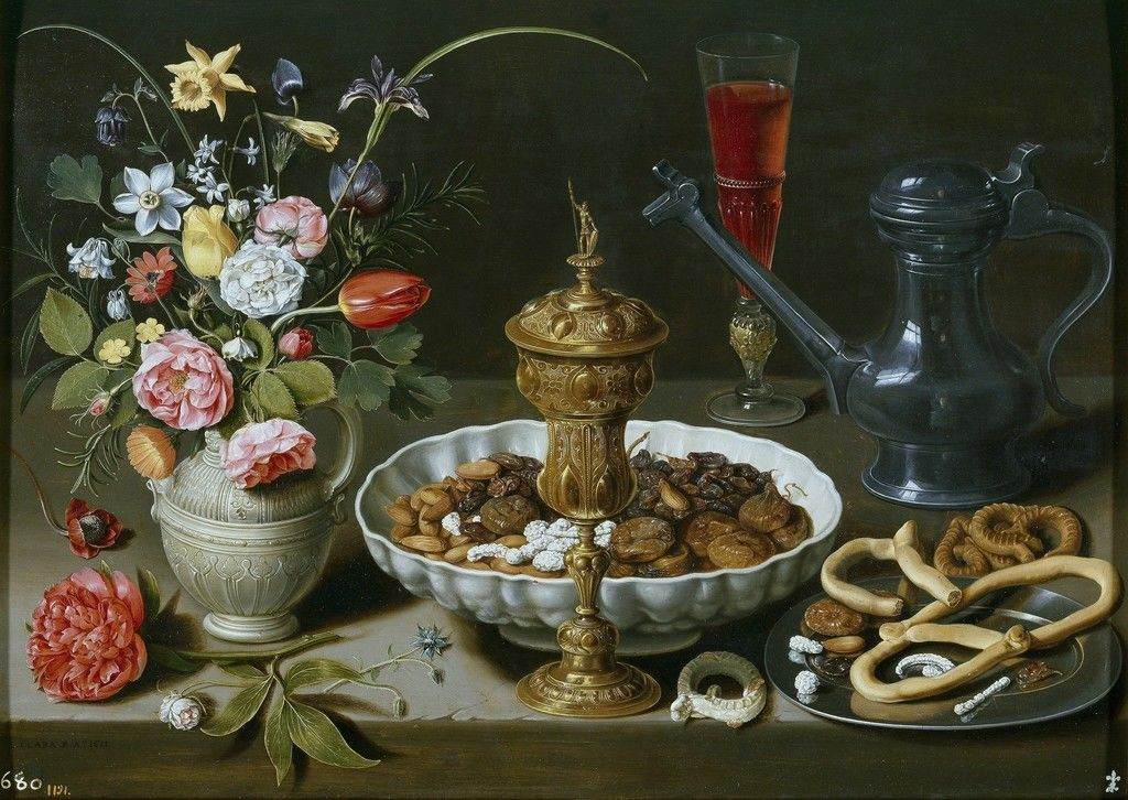 Clara Peeters, Still Life with Flowers, Goblet, Dried Fruit, and Pretzels, 1611
