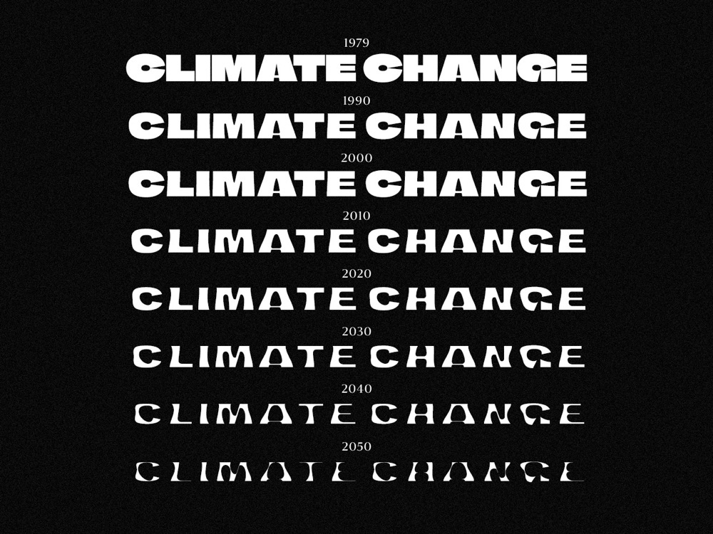 """Clever """"Climate Crisis"""" Typeface Has Several Weights Based on Arctic Sea Ice Extent"""