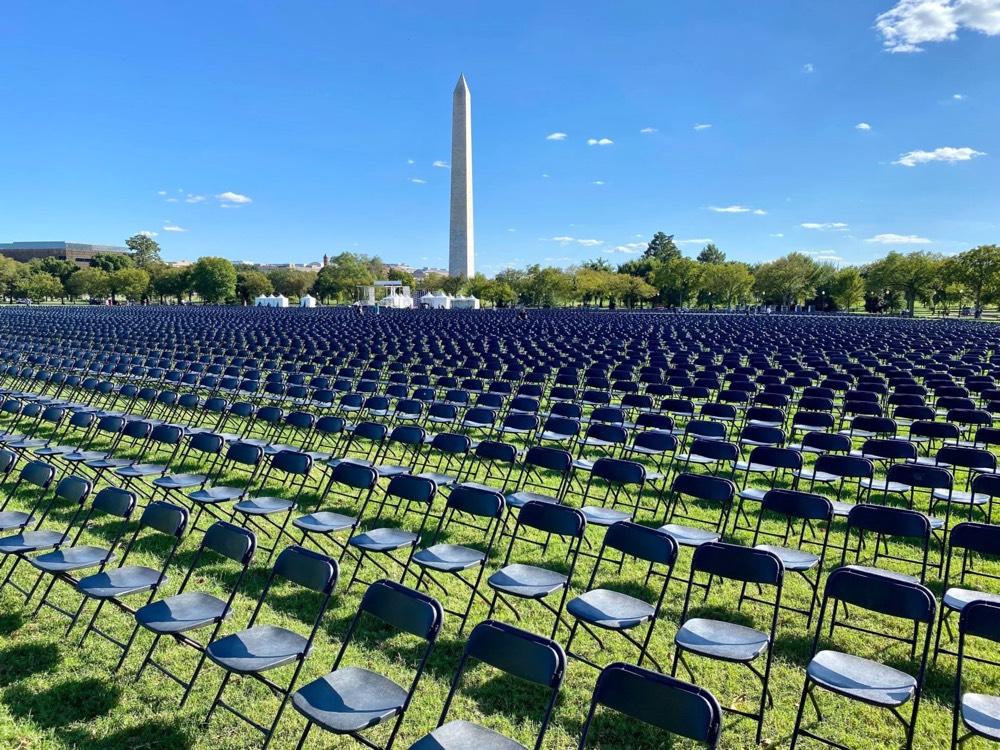 An array of 20,000 chairs set up in front of the White House