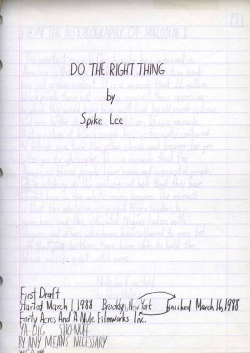 Do The Right Thing first draft