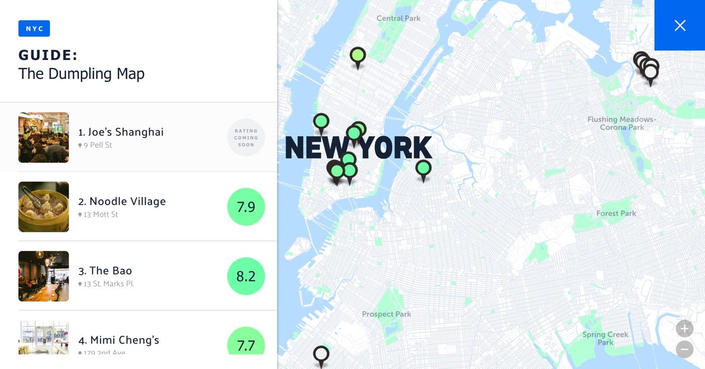 A map of the best dumplings in NYC