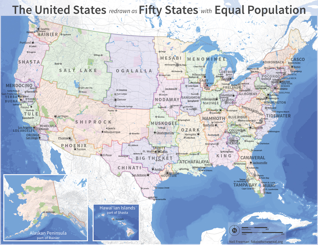 Fifty US States With Equal Population - Usa map memphis