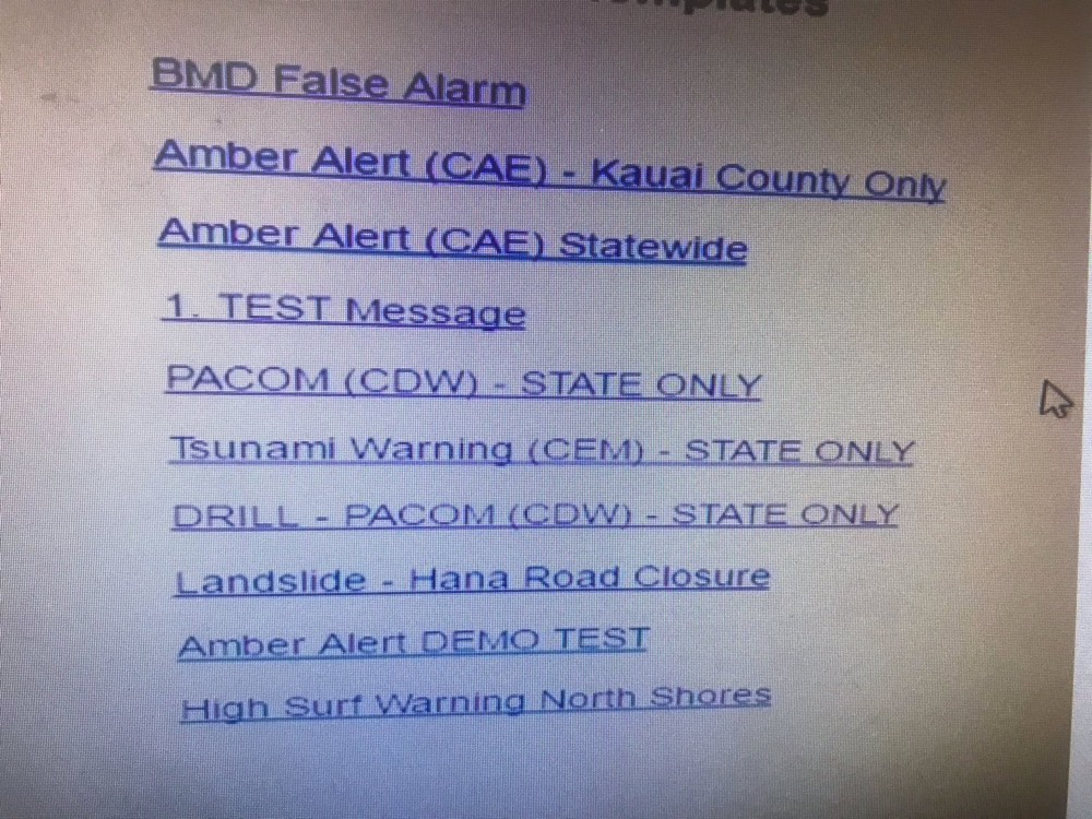 Hawaii Missile Alerts Interface