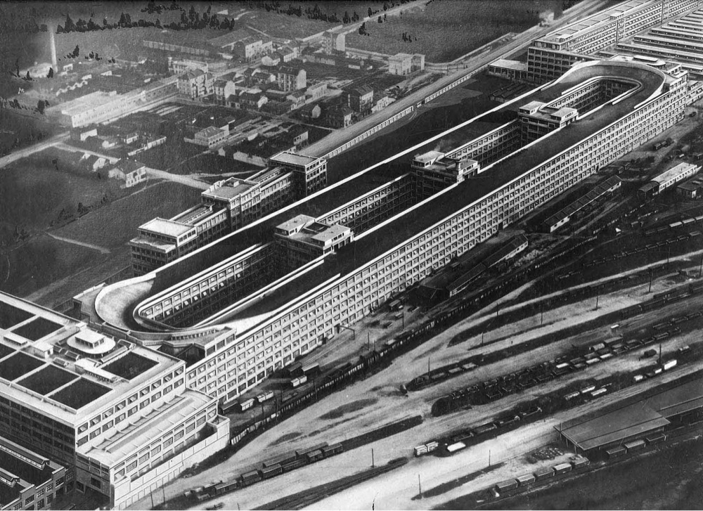 a photo of the racetrack on top of the Fiat factory in Turin, Italy