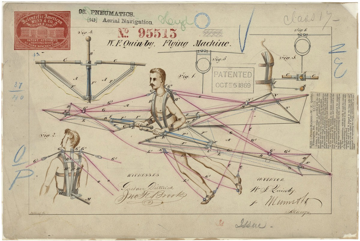 1869 US Patent Drawing for a Human Flying Machine
