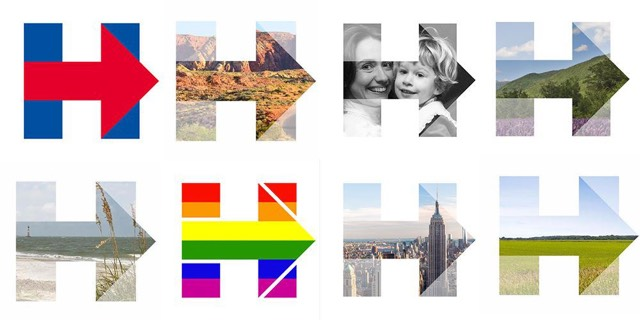 the mighty morphing hillary logo