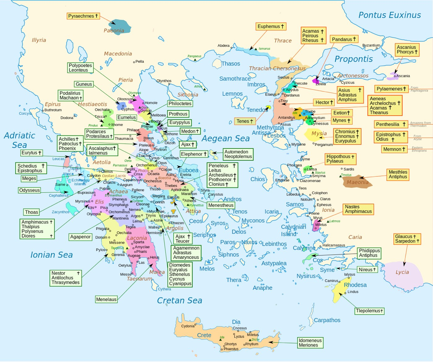 Map Showing The Homeland Of Every Character In Homers Iliad - Map of me