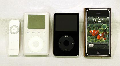 1G iPod shuffle, 3G iPod, 5G iPod and the iPhone