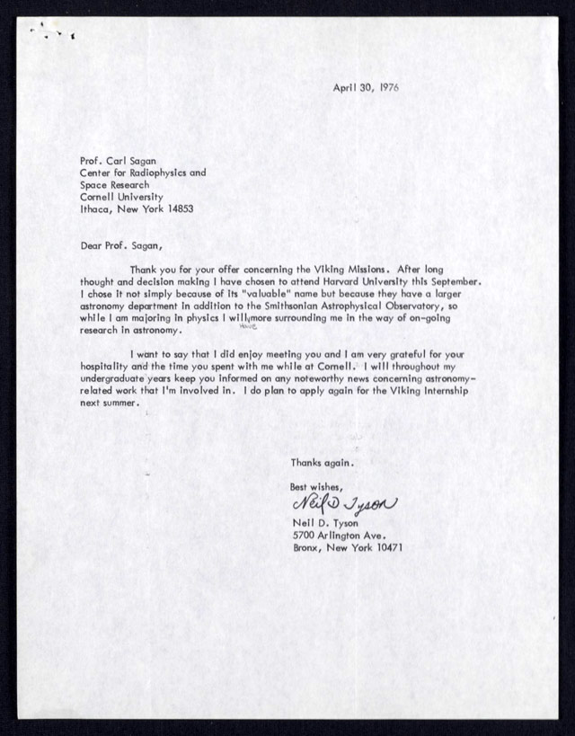 A Young Neil Degrasse Tyson S Letter To Carl Sagan