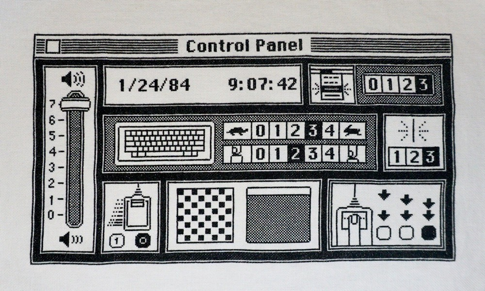 The original Mac OS Control Panel done in cross-stitch