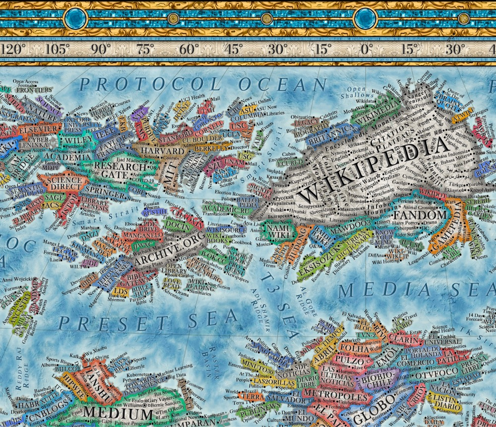 detail of a map of the Internet 2021