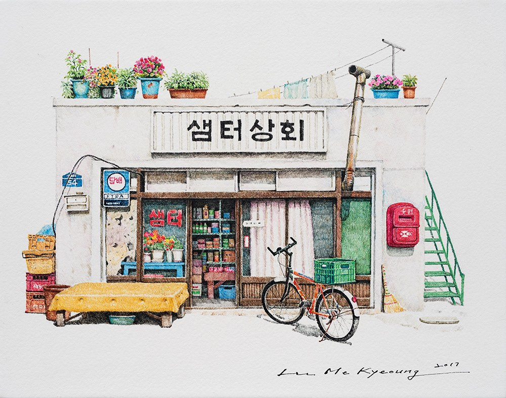 Delicately detailed illustrations of small Korean convenience stores