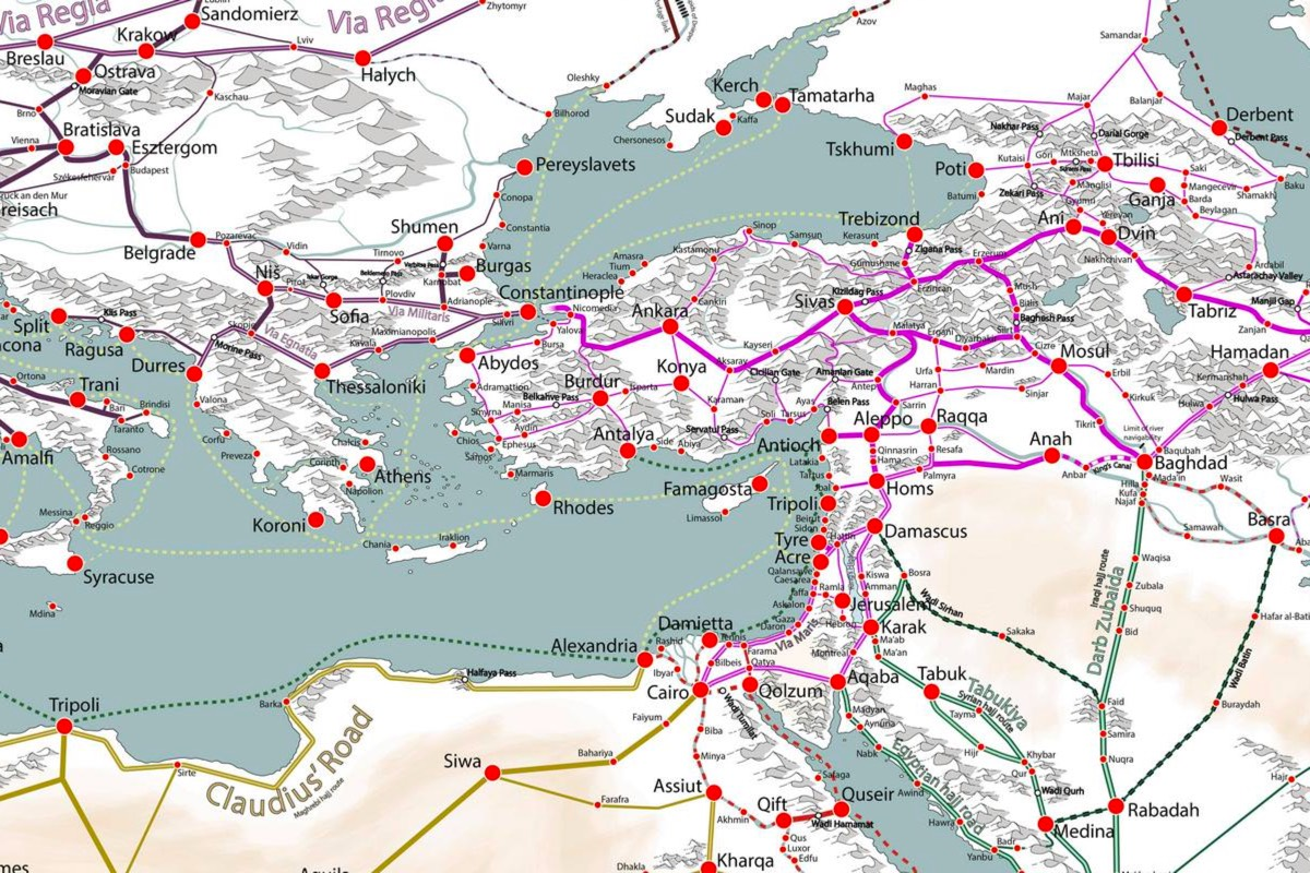 Map Of Africa Europe And Asia.A Detailed Map Of Medieval Trade Routes In Europe Asia And Africa