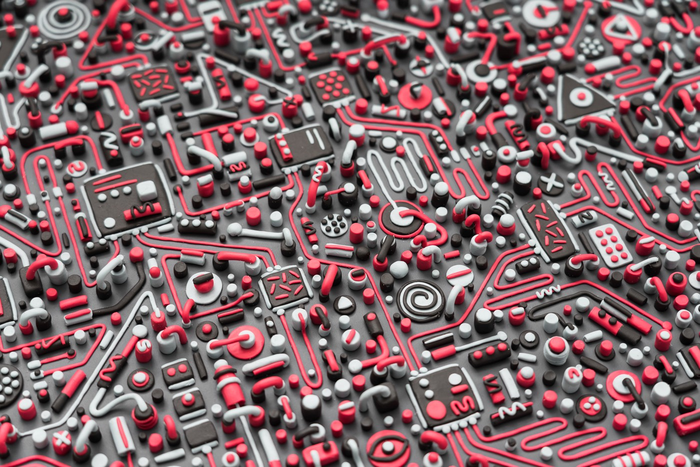 Intricate Circuit Board Model Sculpted From Plasticine Clay Circuitboard