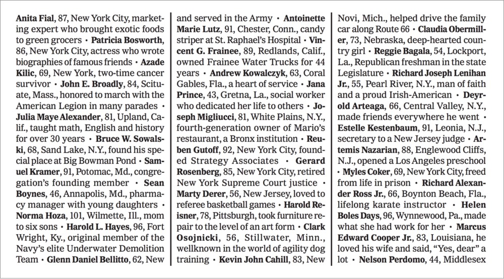NY Times Covid-19 Obituaries Detail