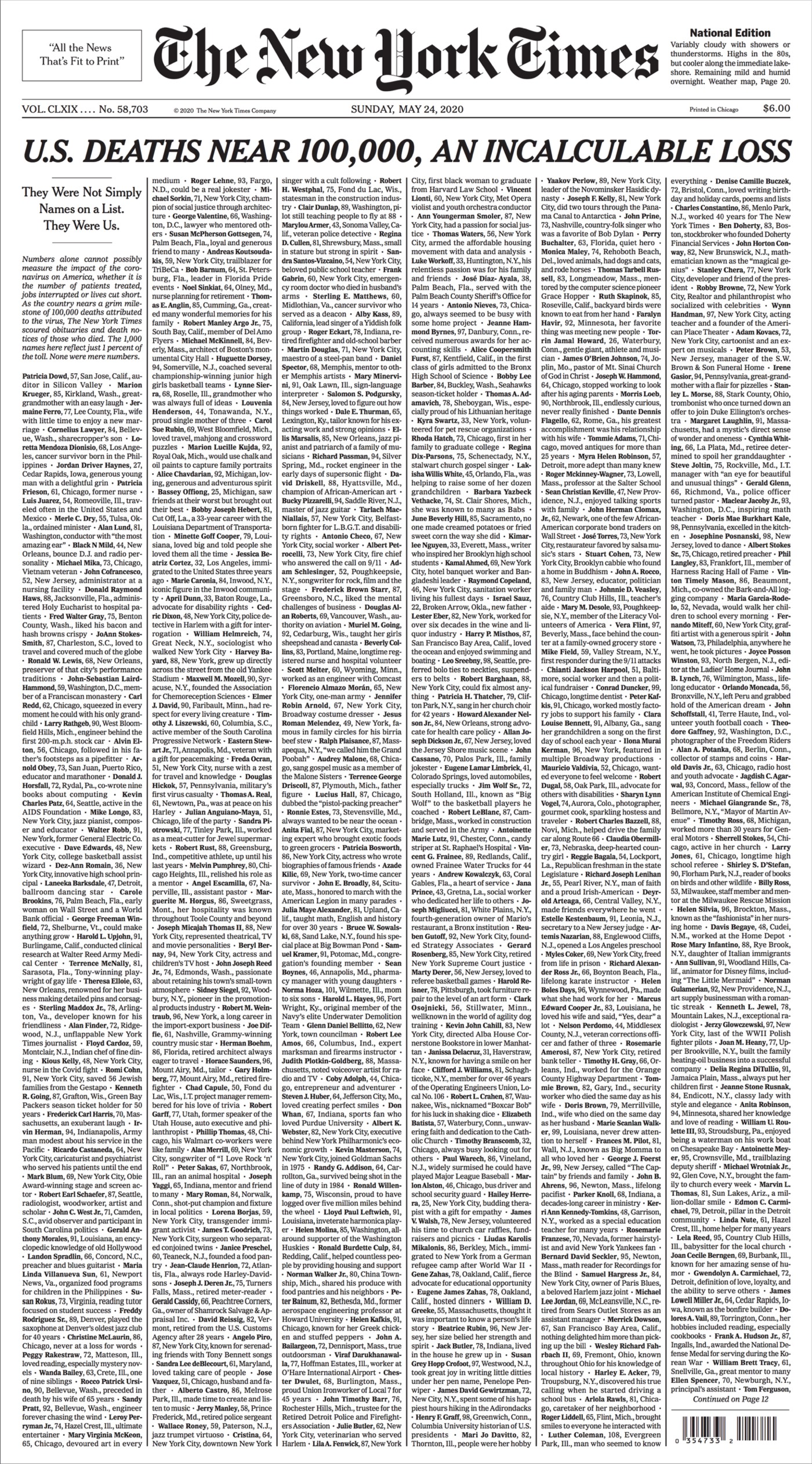 NY Times Covid-19 Front Page
