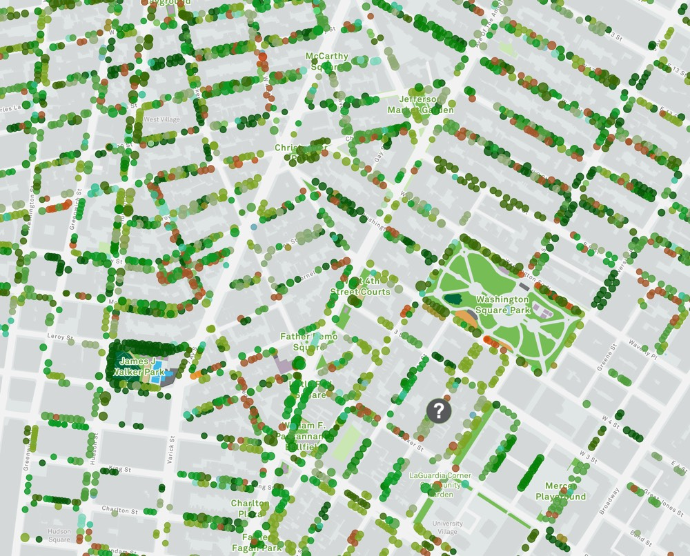 Map Of Cities In New York.New York City Street Tree Map