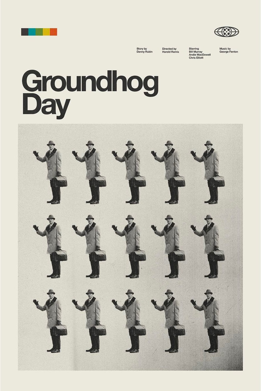 retro modern movie poster for Groundhog Day