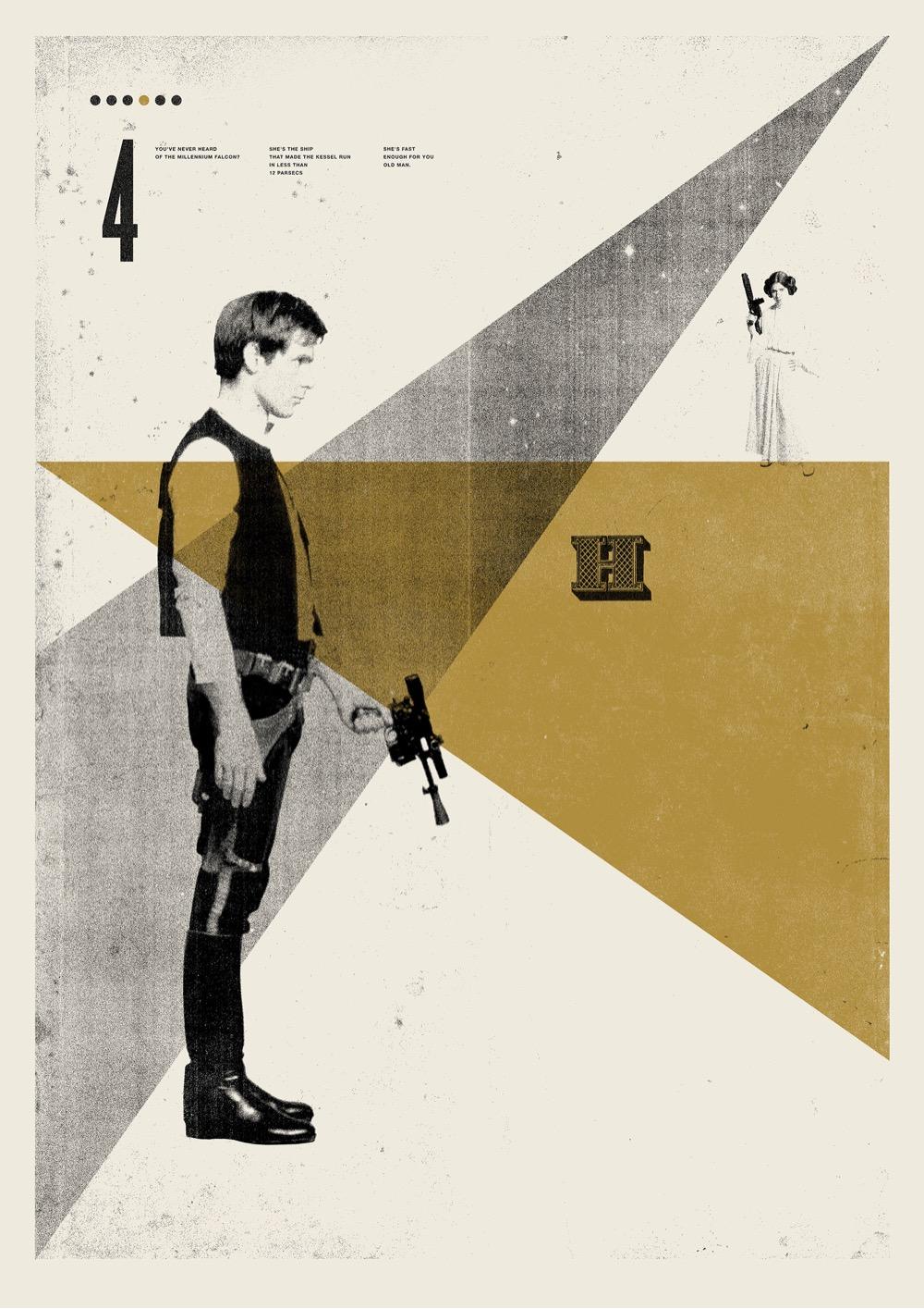 retro modern movie poster for Star Wars