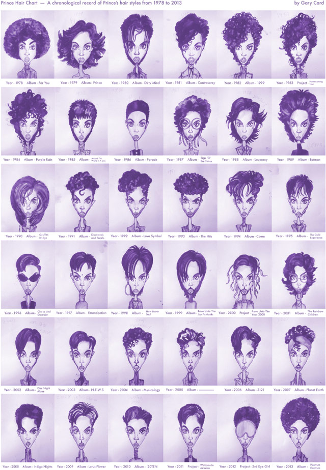 Prince's hair through the ages