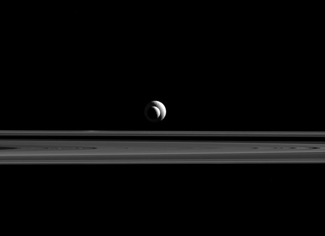 Two Saturnian moons, lined up