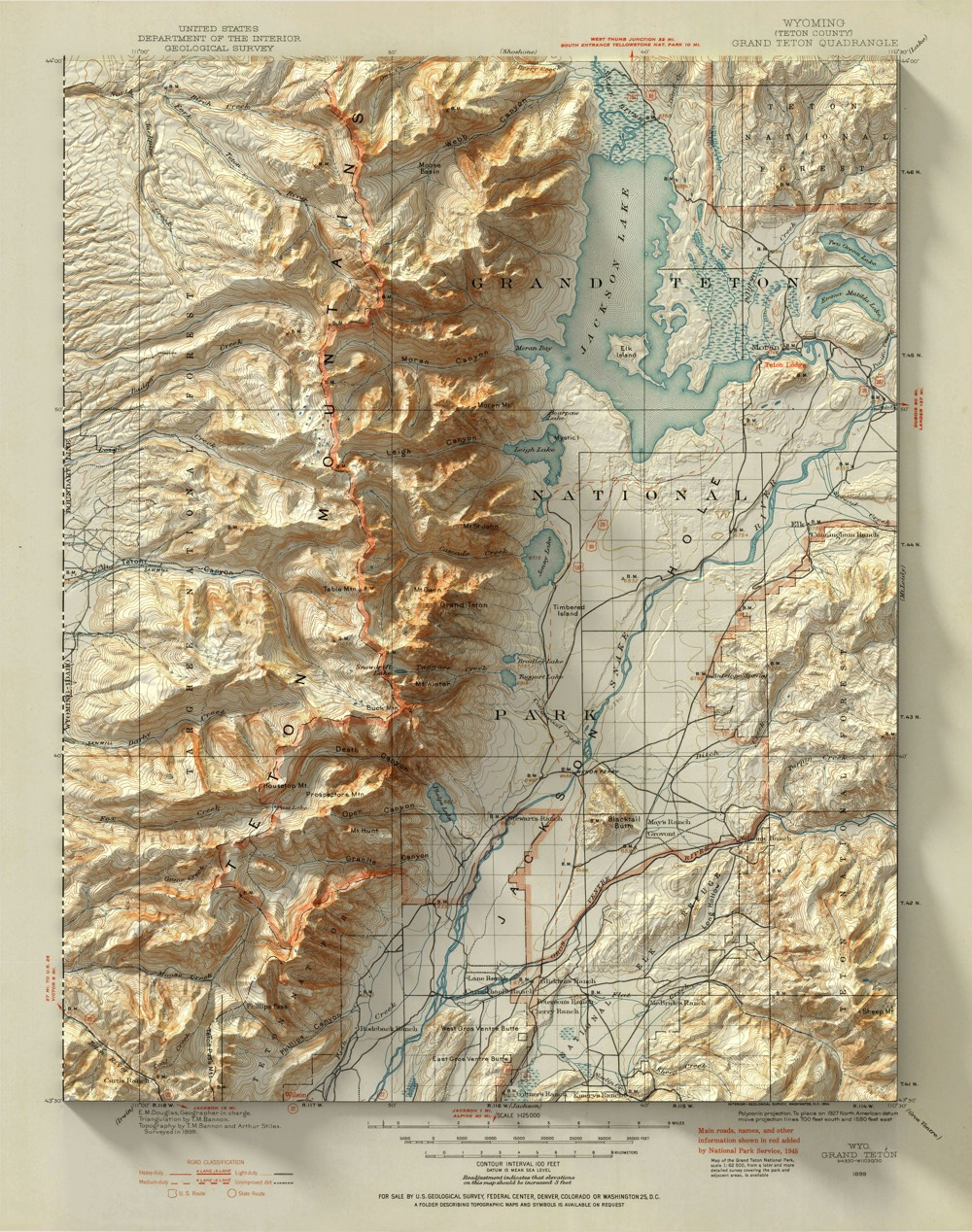 what really sells it is the shadows cast by the topological part of the map onto the borders its particularly evident in the teton and acadia maps