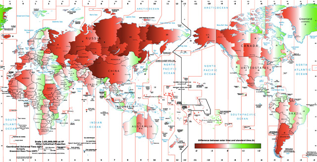 Map of world time zones, showing how close to solar they are