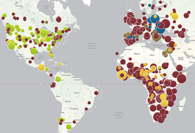 World map of vaccine-preventable outbreaks